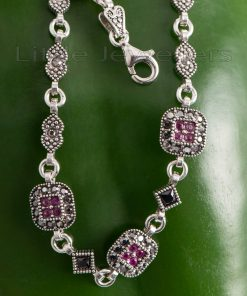 sterling silver marcasite and ruby bracelet