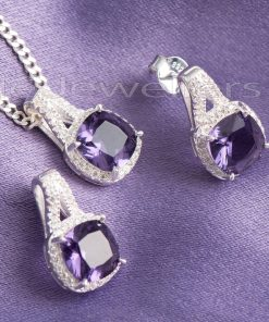 An amethyst matching necklace & earring set that represents royalty and strength.
