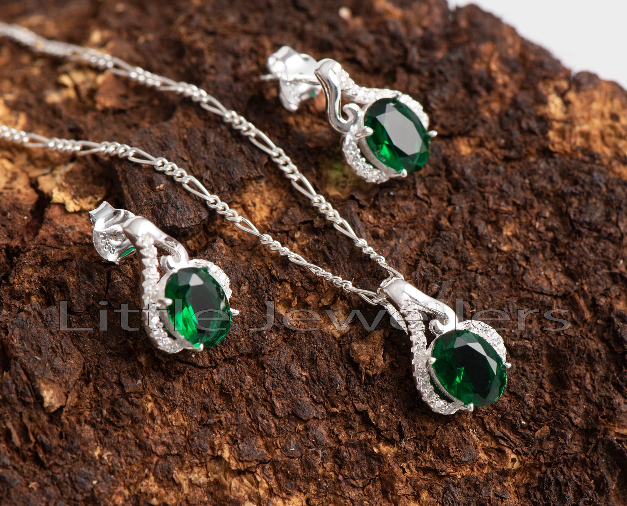 Green Earring and Necklace set