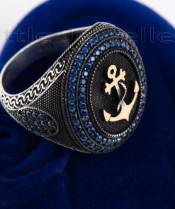 Sterling Silver Nautical Anchor Ring For Men.