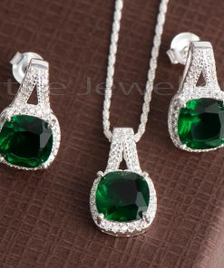 emerald green Cubic Zirconia stones earring and necklace set
