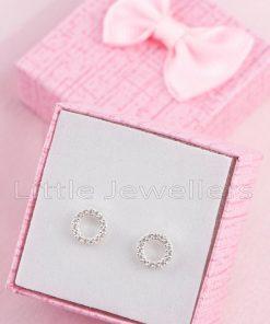 A Stylish & Minimalist Open Circle Silver Stud Earrings