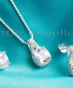 Clear Princess Cut Earrings and Necklace Set