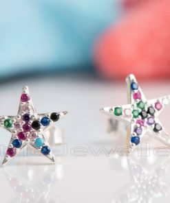 A cute pair of multicolored star shaped silver stud earrings
