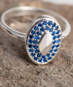 silver cz sapphire casual ring