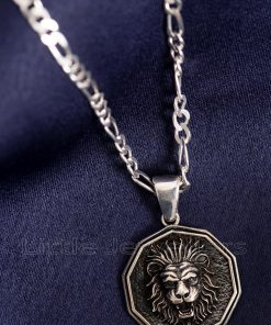 Handcrafted Oxidized Lion Head Pendant