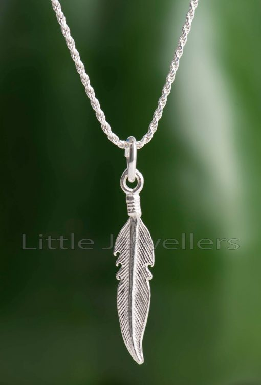 A beautifully crafted sterling silver feather pendant necklace