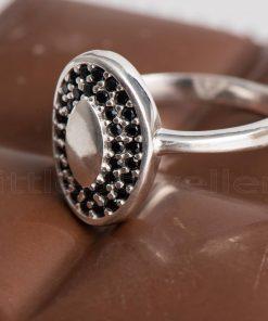 Onyx black micro Cubic Zirconia friendship ring