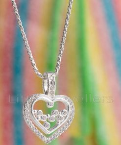 A sparkling sterling silver heart shaped cubic zirconia pendant necklace for women.
