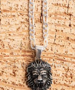 oxidized lion head pendant