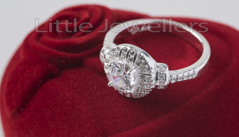 A Beautiful Round Sterling Silver Engagement Ring