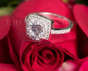 A square shaped cz engagement ring.